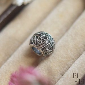 Authentic Pandora silver charm with stones leaf